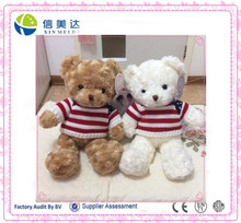 2016 promotional custom logo teddy bear with knitted t shirt soft stuffed custom plush bear teddy