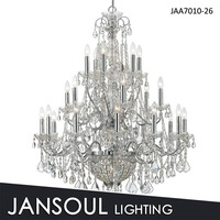 3 tiers 26 lights chrome iron candle chandelier with crystal