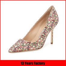 2015 new arrival elegant ladies high heel shoes with floral print