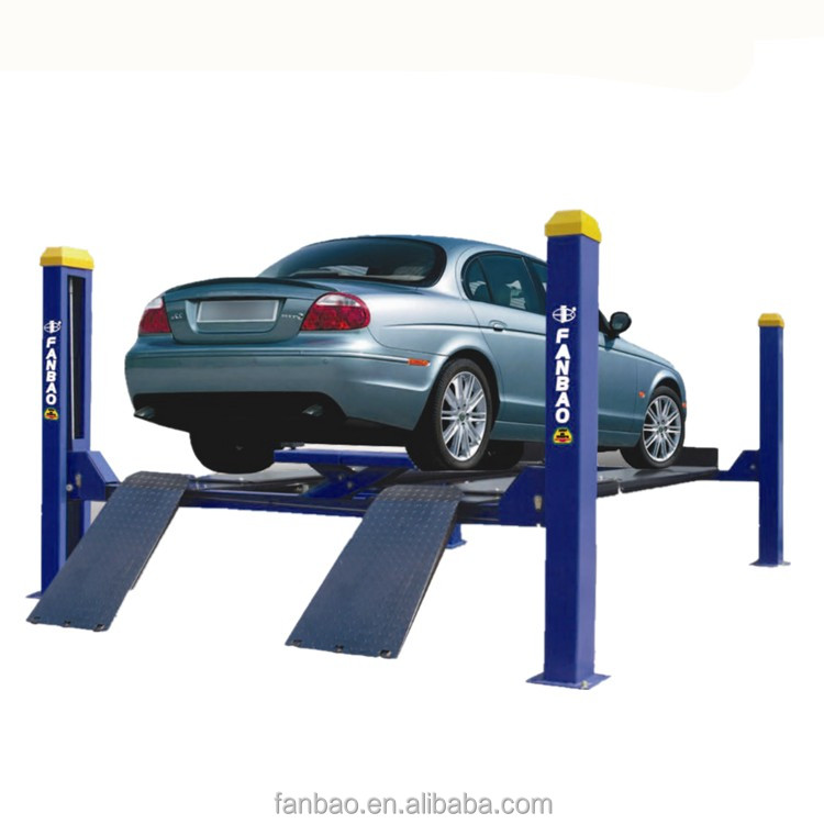 In stock 3.5T manual one side release four post hydraulic lift car maintenance lift auto ramp lift with CE certification