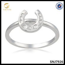 Pure sterling silver horse shoe diamond accent ring OEM jewelry supplier