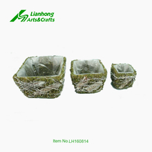 Alibaba cheap wholesale flower pots moss and birch material