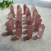 natural raw quartz crystal point rose quartz wand for sale