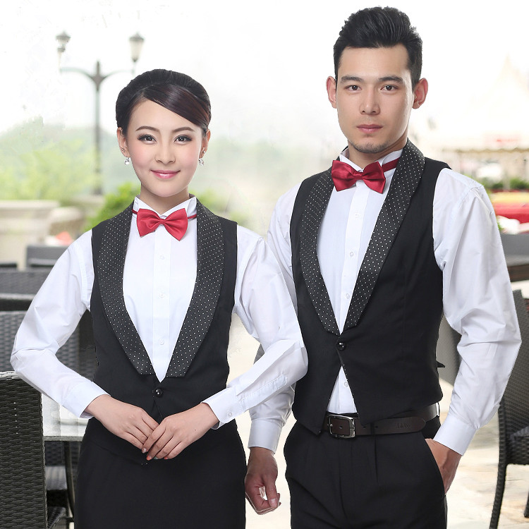Juqian custom high end slim fit western restaurant waitress tuxedo uniform designs