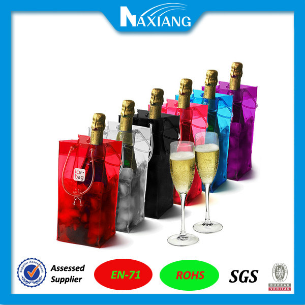 2015 China Eco-friendly waterproof transparent plastic pvc wine ice bag