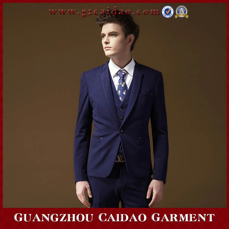 New design Lapel 3 Piece Vested Skinny Suit For Men Dark Blue