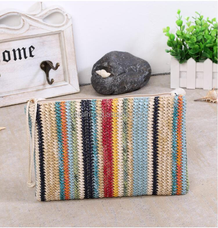 DEMIZXX868 Wholesale Custom Striped Design Straw Material Tote Bag Women Summer Free Shipping Different Color Small Handbag