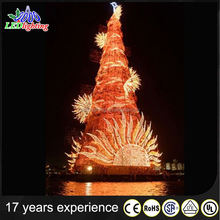 Orange LED outdoor lighted metal christmas trees with top star