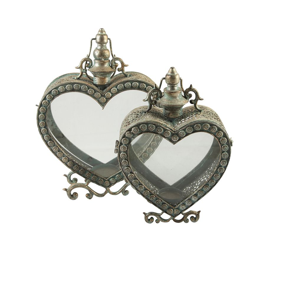 S/2 metal lantern heart design lanterns metal glass lanterns