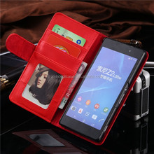 Luxury Leather Flip Phone Case For Sony Xperia Z2 C770x D6502 D650 D6503 L50W With Card Slot & Photo Frame Cover