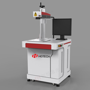 HGTECH Mini 10W 20W fiber electronic laser marking machine for metal printed circuit board, chip,mobile phone shell