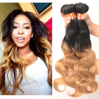 Charming 1B/27# Ombre Virgin Brazilian Human Hair Weave Wet and Wavy Body Wave Brazilian Ombre Weave Hair Extensions