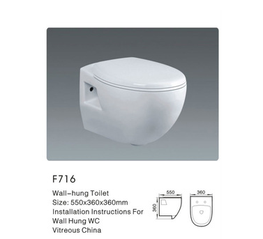 American standard white ceramic wall-hung toilet
