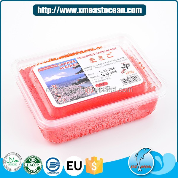 Healthy delicious capelin orange frozen seasoned fish roe