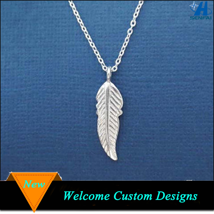 High quality zinc alloy silver plated meaning feather pendant necklace
