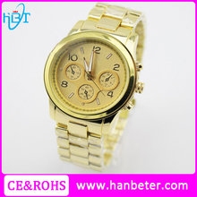 24k gold watches quartz water resistant watch with metal gift box