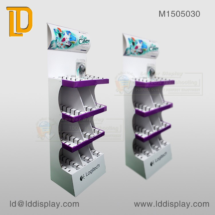Shenzhen corrugated cardboard pallet display,retail computer mouse display stands,paper pallet display for mouse advertising
