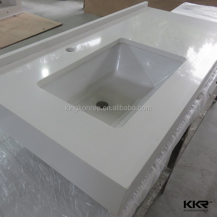one piece molded bathroom countertop with built in sink