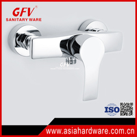 Chrome finish brass single lever wall mounted bath shower mixer taps