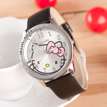 Fashion Cute Hello Kitty Leather Band Wrist Watches for girls