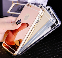 Durable silicone Soft TPU mirror electroplate phone case for iPhone 6 / 6S 4.7 5.5 pink gold black silver MITPU01