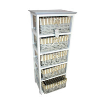 Wholesale Shabby Chic Decor 5 Willow Drawers Basket Wood Cabinet