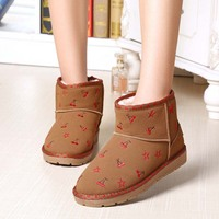 SAA2249 Winter boot latest girls fashion floral ankle high ladies flat snow boots
