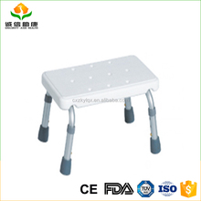 High quality aluminum foot stool white PE seat height adjustable folding shower chair using in bathroom for elderly people