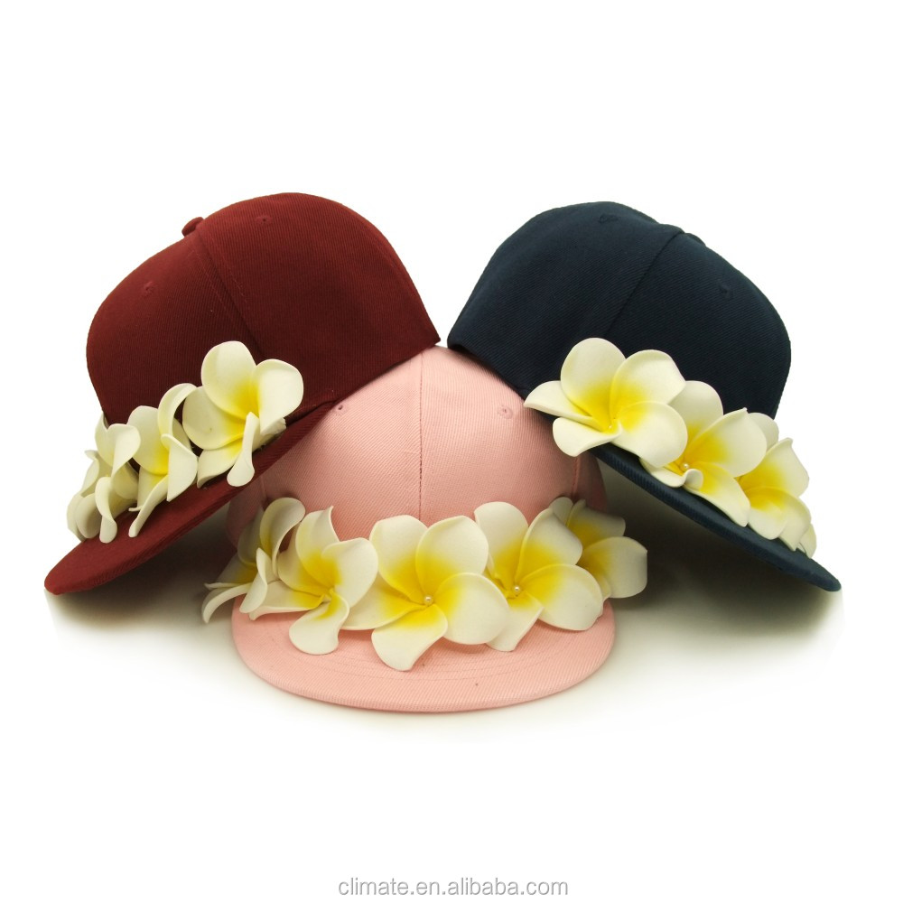 2016 newest 6 panel hip-hop applique flower snapback caps Acrylic twill baseball hats for women