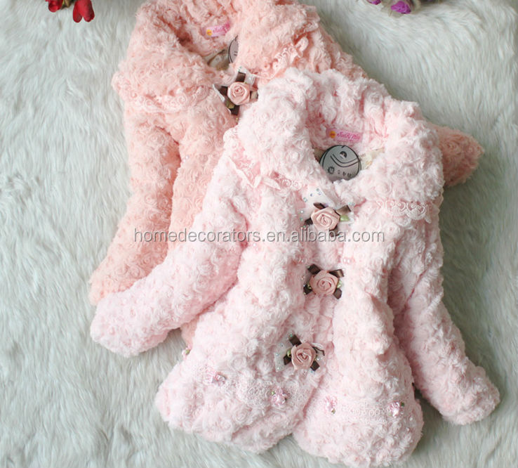 Winter new Children's clothing baby girl's coats thick pink Pearl Lace fur jackets plush hoodie jacket