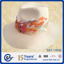 2014 100% wool big brim felt fedora hat feather trim