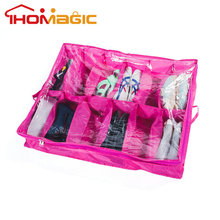 Breathable 12 Divider Underbed Shoe Storage Organizer Box with zipper