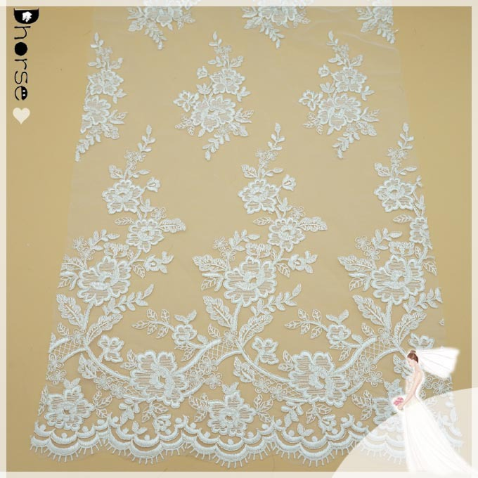 Dhorse DH-BF379 off white cord lace fabric flower embroidery on mesh lace fabric for curtains