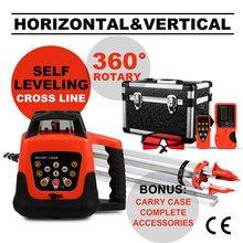 3D Rotary Laser Level vertical and horizontal cross line 500m Range + Tripod + 5m Staff measuring instruments 5 degree range