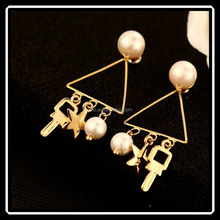 2015 Asian Latest Triangle Pearl Wedding Earrings With Key Ball Star Pendant Beautiful Bijouterie China