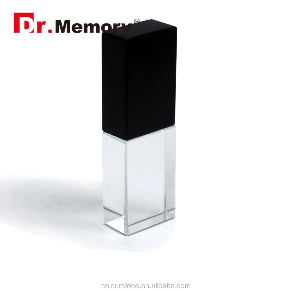 Dr.memory factory price crystal usb pendrive 2.0 flash memory usb with 3D logo custom