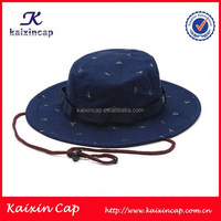 oem designed cotton fabric with wide brim rope designed screen printing bucket hat