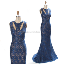 High end multi-color sexy women lace evening dress for celebrity