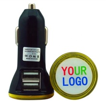 cheap custom usb <strong>c</strong> converter wholesale 5V 2100mA output promotional portable custom universal dual usb car charger with LED logo