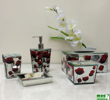 high end bathroom accessory, gift set, glass bathroom set
