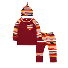 Rainbow Color Girl Clothes Set Newborn Baby Boy Clothing 3Pcs Hat+Pocket T-shirt Tops+Multicolor Striped Pants