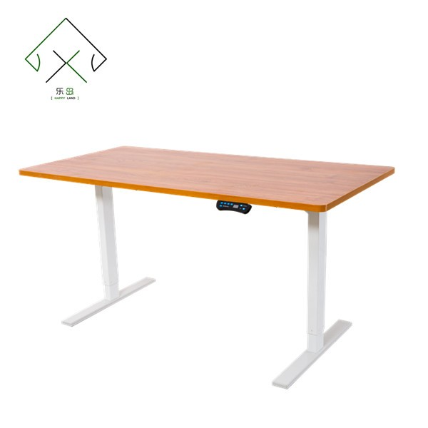 White office desk with metal frame and wheels