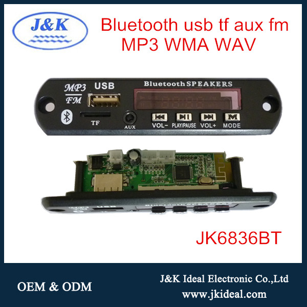 JK6836BT Audio digital tf card fm radio player bluetooth board usb mp3
