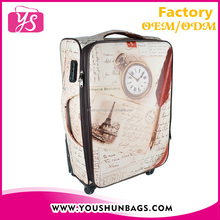 European style PU printed spin wheels luggage bags and cases