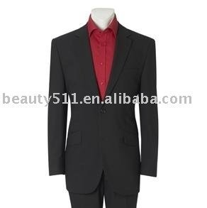 Mens Black Two Button Stripe Single Breasted Suit Jacket mr-12