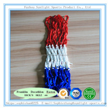 Tri-colored double knot basketball net