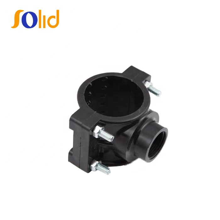 Plastic PP Compression Fitting Pipe Clamp Saddle for Irrigation Use