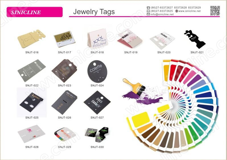 Sinicline white paper jewelery display card earring tag