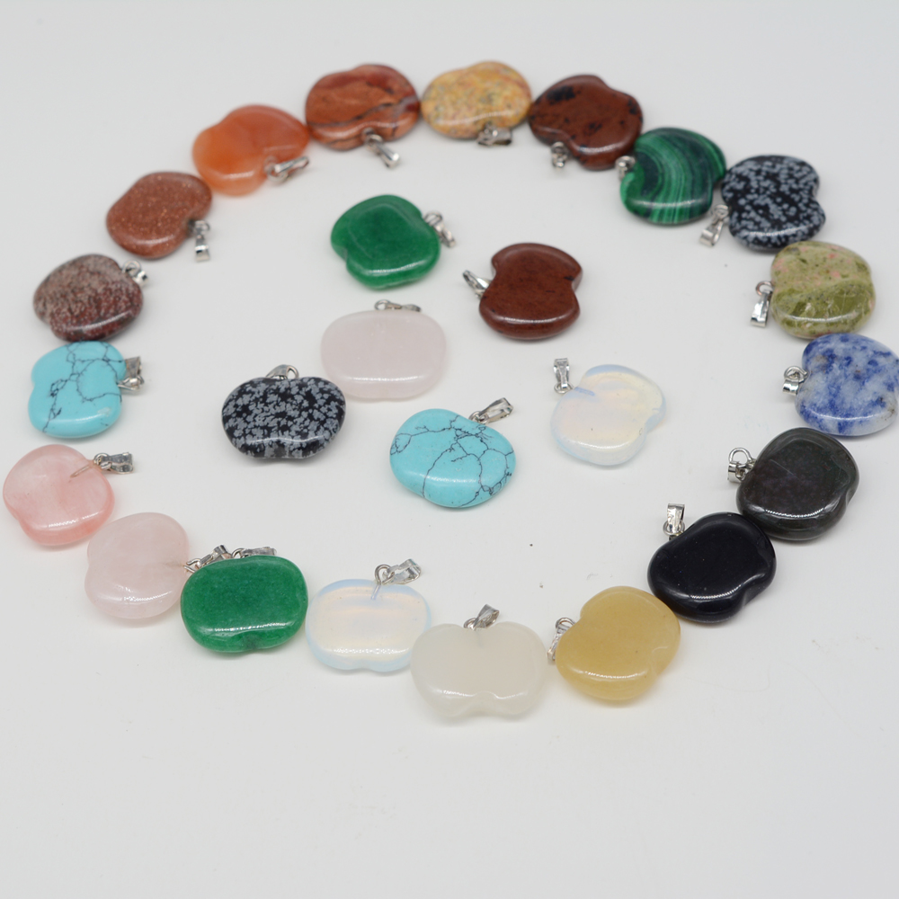 natural gemstone pendants bead charm apple shape agate pendant for necklaces jewelry making