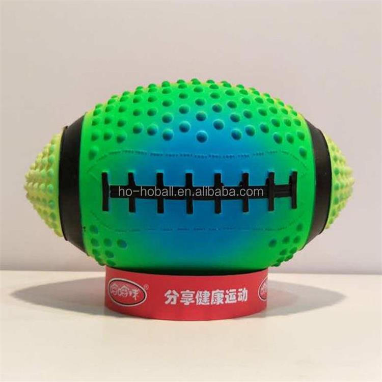 "Blacklight reactive neon rainbow 9"" Inflatable football"